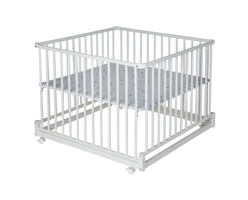 Laufgitter Komfort 100x100 cm weiss_Sternchen grau