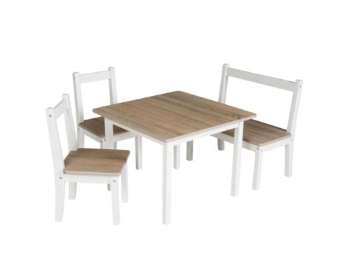 Ensemble chaise - table, 2 chaises + 1 table + 1 banc