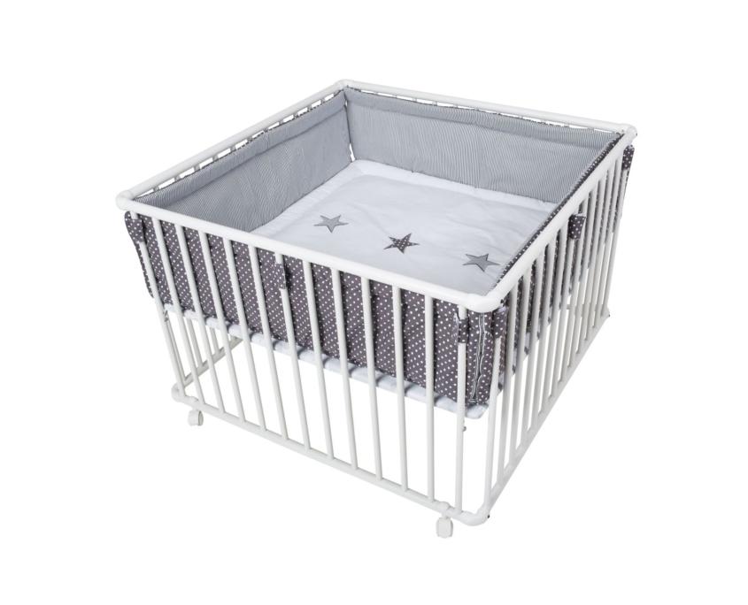 schardt gmbh co kg laufgitter basic 100 100 cm wei stern grau. Black Bedroom Furniture Sets. Home Design Ideas